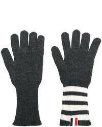 dunkelgraue horizontal gestreifte Handschuhe von Thom Browne
