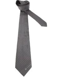 dunkelgraue horizontal gestreifte Krawatte von Giorgio Armani