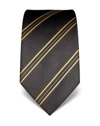 dunkelgraue horizontal gestreifte Krawatte von Vincenzo Boretti