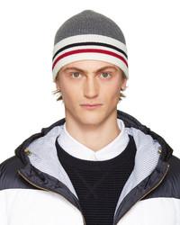 dunkelgraue horizontal gestreifte Mütze von Moncler Gamme Bleu