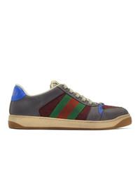 dunkelgraue horizontal gestreifte niedrige Sneakers von Gucci