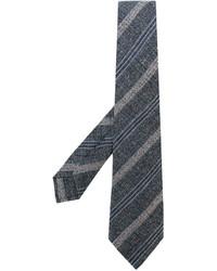dunkelgraue horizontal gestreifte Wollkrawatte von Kiton