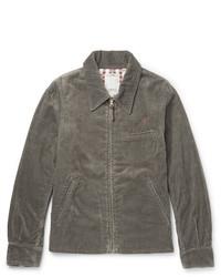 dunkelgraue Jacke mit einer Kentkragen und Knöpfen