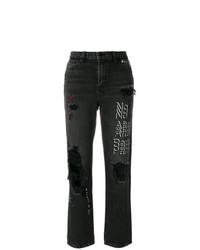 dunkelgraue Jeans mit Destroyed-Effekten von Alexander Wang