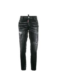 dunkelgraue Jeans mit Destroyed-Effekten von Dsquared2