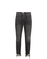 dunkelgraue Jeans mit Destroyed-Effekten von Frame Denim