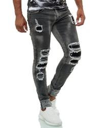 dunkelgraue Jeans mit Destroyed-Effekten von KINGZ