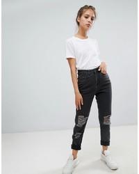 dunkelgraue Jeans mit Destroyed-Effekten von Noisy May