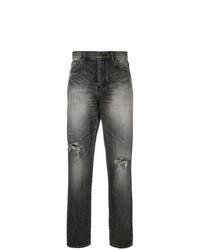 dunkelgraue Jeans mit Destroyed-Effekten von Saint Laurent