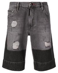 dunkelgraue Jeansshorts mit Destroyed-Effekten von Philipp Plein