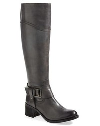 dunkelgraue kniehohe Stiefel aus Leder