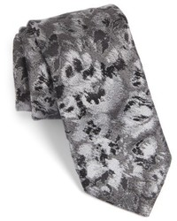 dunkelgraue Krawatte mit Blumenmuster