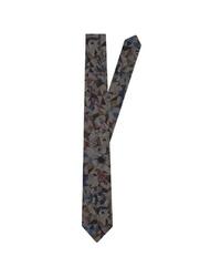 dunkelgraue Krawatte mit Blumenmuster von Jacques Britt
