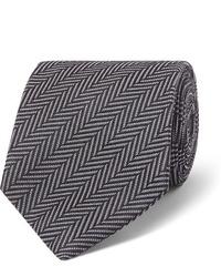 dunkelgraue Krawatte mit Fischgrätenmuster von Tom Ford