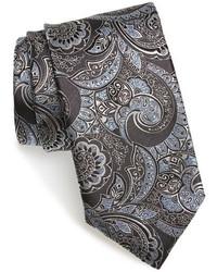 dunkelgraue Krawatte mit Paisley-Muster
