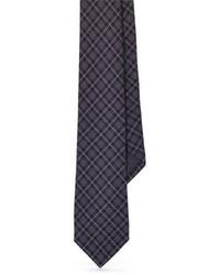 dunkelgraue Krawatte mit Schottenmuster