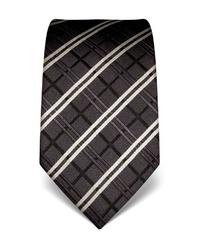 dunkelgraue Krawatte mit Schottenmuster von Vincenzo Boretti