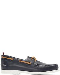 dunkelgraue Leder Bootsschuhe von Moncler Gamme Bleu
