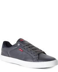 dunkelgraue Leder niedrige Sneakers