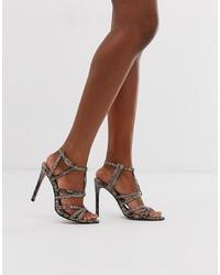 dunkelgraue Leder Sandaletten mit Schlangenmuster von ASOS DESIGN