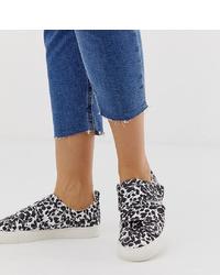 dunkelgraue niedrige Sneakers mit Leopardenmuster von ASOS DESIGN