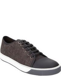 dunkelgraue niedrige Sneakers