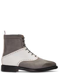 dunkelgraue Nubuk Stiefel von Thom Browne