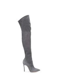 dunkelgraue Overknee Stiefel aus Wildleder von Casadei