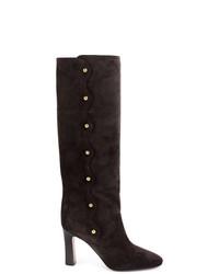dunkelgraue Overknee Stiefel aus Wildleder von Chloé