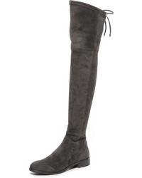 dunkelgraue Overknee Stiefel aus Wildleder von Dolce Vita