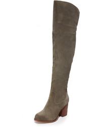 dunkelgraue Overknee Stiefel aus Wildleder von Splendid