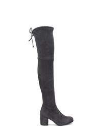 dunkelgraue Overknee Stiefel aus Wildleder von Stuart Weitzman
