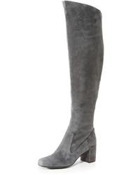 dunkelgraue Overknee Stiefel aus Wildleder von Vince