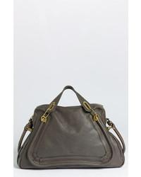 dunkelgraue Satchel-Tasche aus Leder
