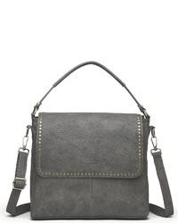 dunkelgraue Satchel-Tasche aus Leder von COLLEZIONE ALESSANDRO