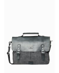 dunkelgraue Satchel-Tasche aus Leder von Dreimaster