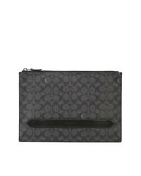 dunkelgraue Segeltuch Clutch Handtasche