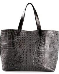 dunkelgraue Shopper Tasche aus Leder mit Schlangenmuster