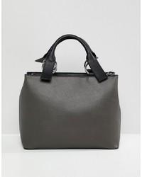 dunkelgraue Shopper Tasche aus Leder von ASOS DESIGN