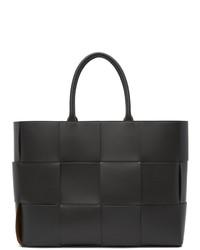 dunkelgraue Shopper Tasche aus Leder von Bottega Veneta