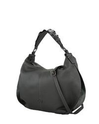 dunkelgraue Shopper Tasche aus Leder von COLLEZIONE ALESSANDRO