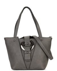 dunkelgraue Shopper Tasche aus Leder von EMILY & NOAH