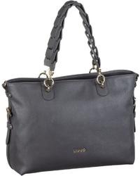 dunkelgraue Shopper Tasche aus Leder von Liu Jo