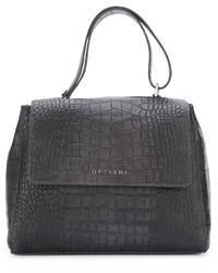 dunkelgraue Shopper Tasche aus Leder von Orciani