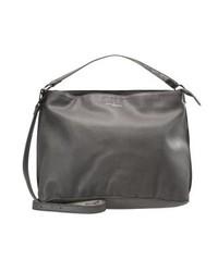 dunkelgraue Shopper Tasche aus Leder