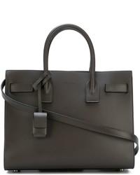 dunkelgraue Shopper Tasche aus Leder von Saint Laurent