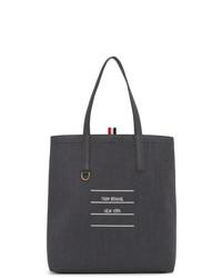 dunkelgraue Shopper Tasche aus Leder von Thom Browne