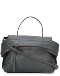 Dunkelgraue Shopper Tasche aus Leder von Tod's