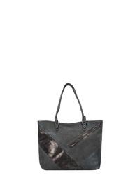 dunkelgraue Shopper Tasche aus Leder von Tom Tailor
