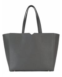 dunkelgraue Shopper Tasche aus Leder von Valextra